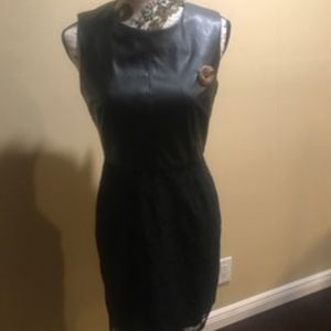 Calvin Klein Black Faux Leather/Lace Dress